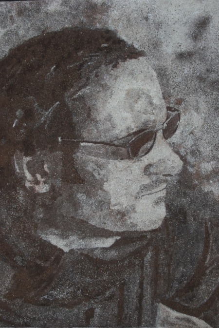 Kuros Zahedi, self portrait in powdered alder wood and bark on paper