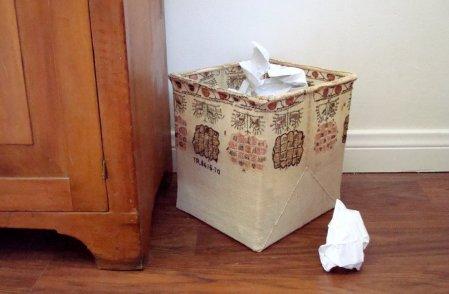 Hand woven linen textile wastepaper basket